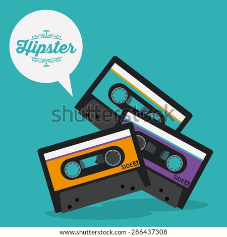 Hipster style design over blue background, vector illustration