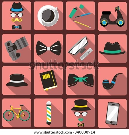 Hipster style elements and icons set - stock vector