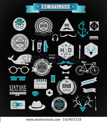 Hipster Design Elements Hipster Style Elements Icons