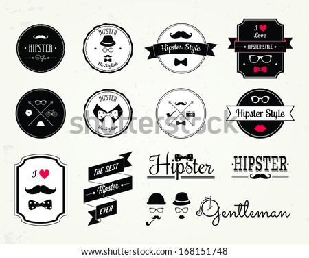 Hipster style elements, icons and labels can be used for retro vintage website, info-graphics, banner  - stock vector