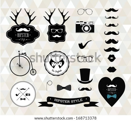 Hipster style elements, icons and labels. Vector Illustration, mustaches variations, collection of grunge textured design elements - stock vector