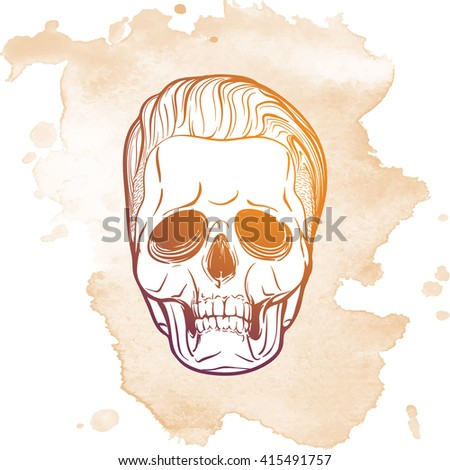 Hipster style human skull with a trendy undercut haircut and ironic grin. Hand drawn sketch on a watercolor spot. Vintage design. EPS10 vector illustration.