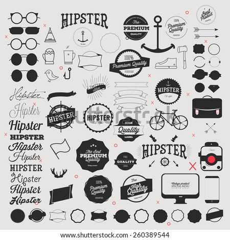Hipster style icon and labels set - stock vector