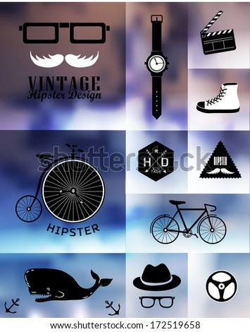Hipster style info graphic element and icon . Vector illustration .Blur, shadows background