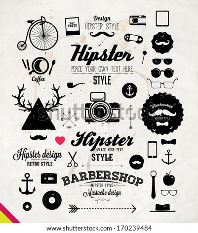 Hipster style infographics elements and icons set for retro design. With bicycle, phone, sunglasses, mustache, bow, anchors, apple and camera. Old Paper Background Texture. Vector illustration. - stock vector