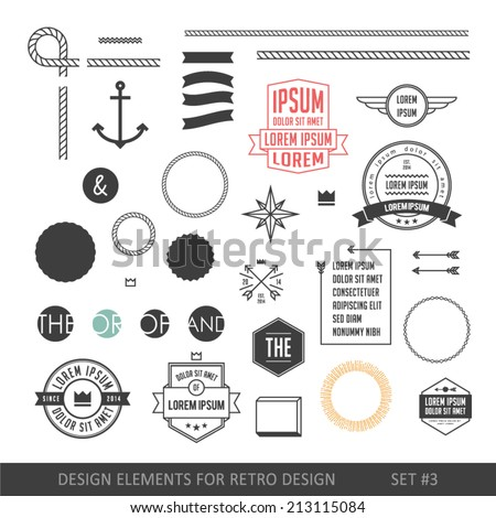Hipster style infographics elements set for retro design. With ribbons, labels, rays, numbers, arrows, borders, diamonds and anchors. Vector illustration - stock vector