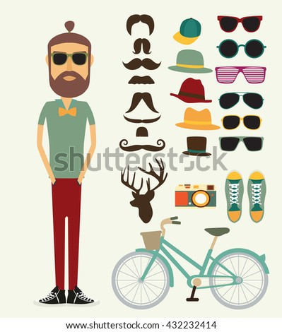 Hipster style look - stock vector