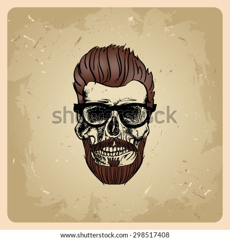 hipster style man skull on the vintage background - stock vector