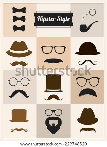 Hipster style mustaches hat vector set collection - stock vector