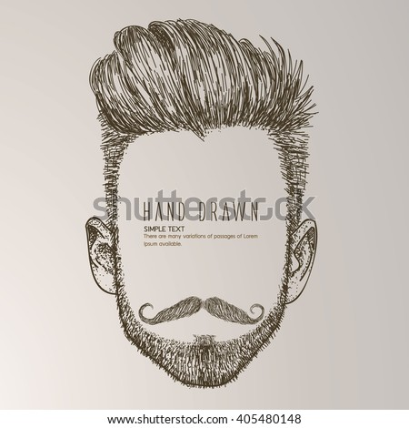 Hipster style of men's hairstyle. Fashion vector illustration. - stock vector