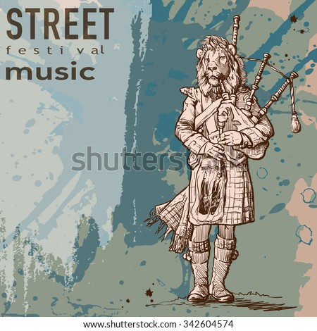 Hipster style street musician with lion head playing bagpipe. Grunge background and a plate for custom text. EPS10 vector illustration. - stock vector