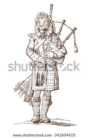 Hipster style street musician with lion head playing bagpipe isolated on white background. EPS10 vector illustration. - stock vector