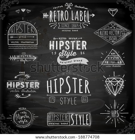 Hipster Style Vintage Elements and Icons Set for Retro Design. Chalkboard Variant. - stock vector