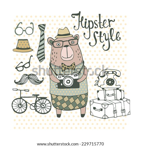 Hipster Style with cute bear. - stock vector