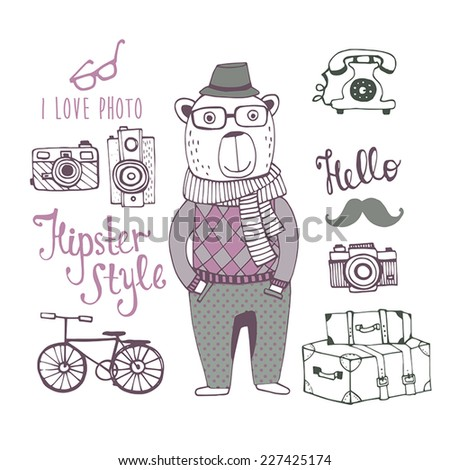 Hipster style with cute bear. Fashion Background - stock vector