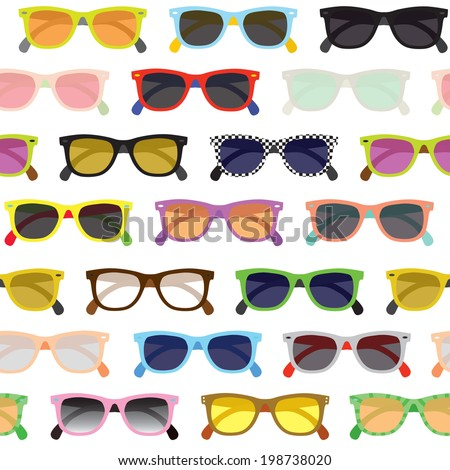 Hipster sunglasses seamless vector background - stock vector