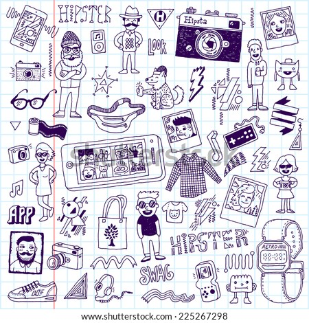 Hipster swag hand drawn doodle set. Vector illustration. School notebook. - stock vector