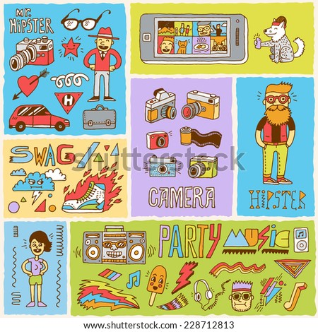 Hipster swag vector doodle hand drawn colorful illustrations set 2.