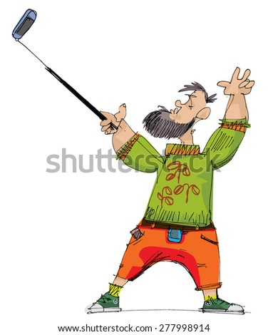 hipster taking selfie with help of special device - cartoon - stock vector