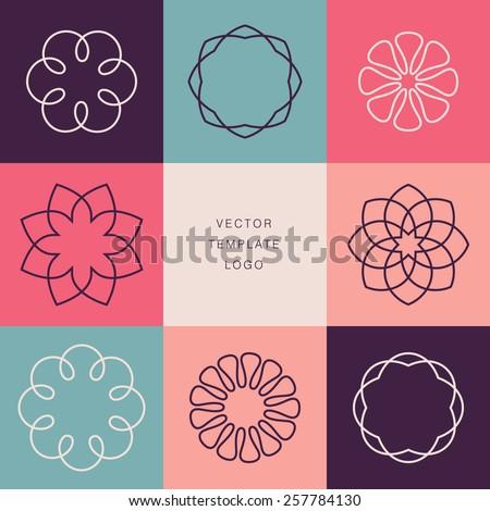 Hipster template logo. Modern lineart logo design elements - stock vector