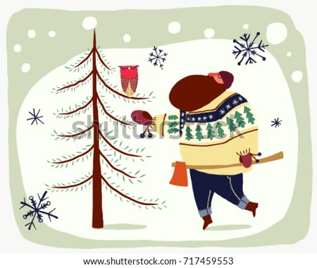 Hipster timber with ugly sweater and axe trying to cut a tree with an owl vector cartoon