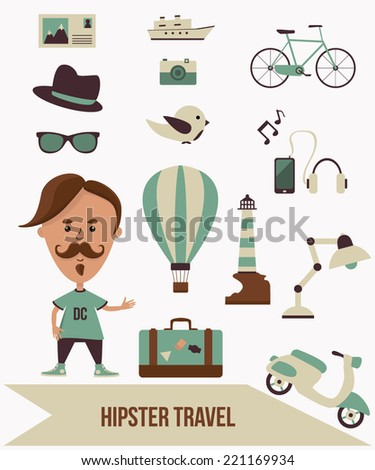 Hipster Travel Set. Vector Elements and Objects - stock vector