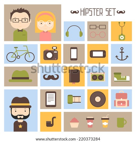 Hipster vector colorful style elements and characters icons set for retro design. Infographic concept background.  - stock vector