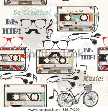 Hipster vector seamless background with old cassette headphones notes bike and glasses - stock vector
