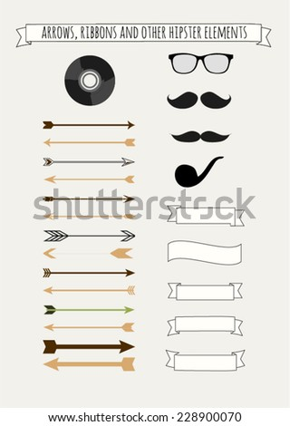 Hipster vector set with mustaches and pipe silhouette, vinyl, old glasses, a lot of vintage arrows, retro ribbons and labels. Isolated elements, very simple design. - stock vector