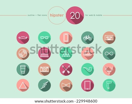 Hipster vintage fashion colorful flat icons set for web and mobile app. EPS10 vector file organized in layers for easy editing. - stock vector