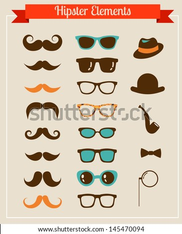 Hipster Vintage retro set of icons and illustrations - stock vector