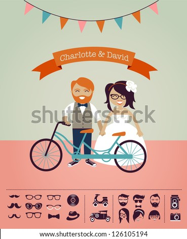 Hipster wedding - design your own invitation card, infographic - stock vector