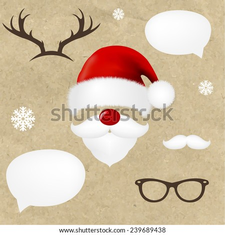 Hipsters Christmas Set With Gradient Mesh, Vector Illustration - stock vector