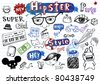 Hipsters doodle set - stock photo