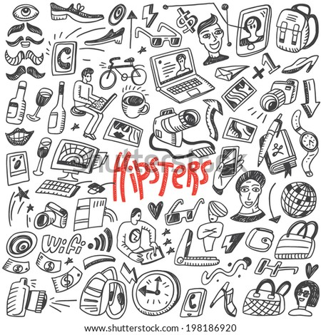 hipsters  doodles - stock vector