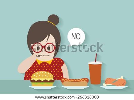 Hipsters fat woman say no to junk food vector cartoon. - stock vector
