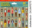 Hipsters megapack. Flat design. Long shadow. Vector illustrations. Icon set 1st. - stock vector