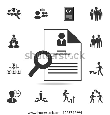 Hiring And Recruiting, Resume Icon. Set Of Human Resources, Head Hunting  Icons.  Recruiting Resume