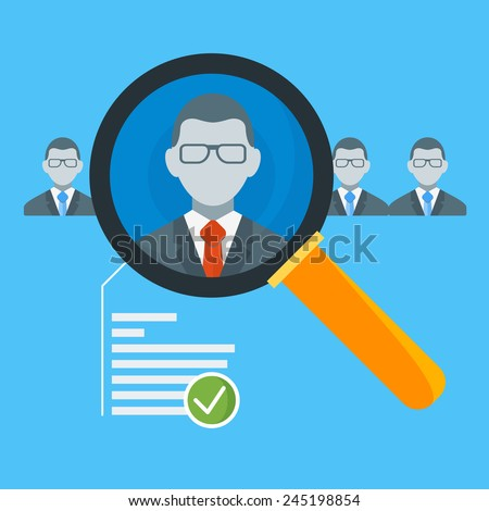 Hiring process concept with candidate selection. Vector illustration in flat design style - stock vector