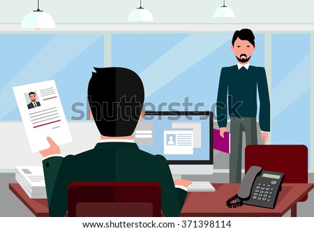 Hiring recruiting interview. Look resume applicant employer. Hands Hold CV profile choose from group of business people. HR, recruiting, we are hiring. Candidate job position. Hire and interviewer - stock vector