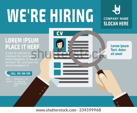 Hiring.Use a magnifying glass to see the resume.banner  poster background  illustrationflat vector design  - stock vector
