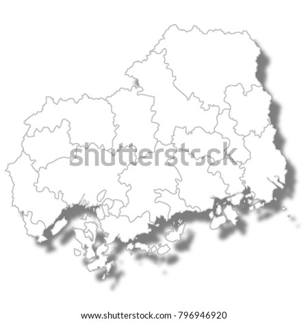 Hiroshima Prefecture Map White Icon Stock Vector HD Royalty Free