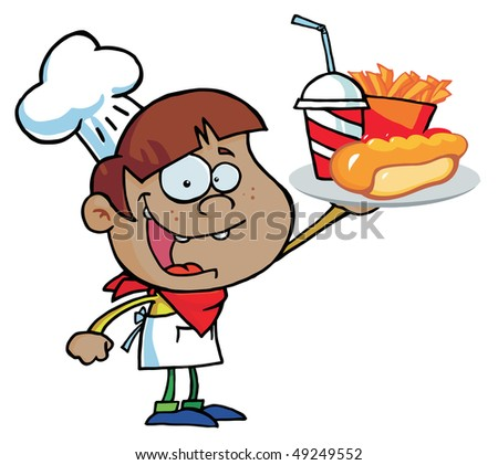 Hispanic Chef Boy Carrying A Hot Dog, French Fries And Drink