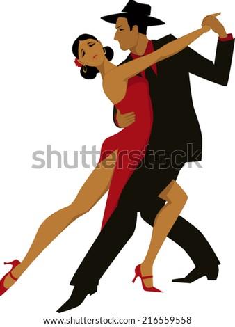 Hispanic couple dancing tango - stock vector