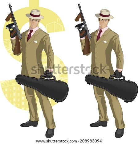 Hispanic mafioso retro styled cartoon character with colored lineart - stock vector
