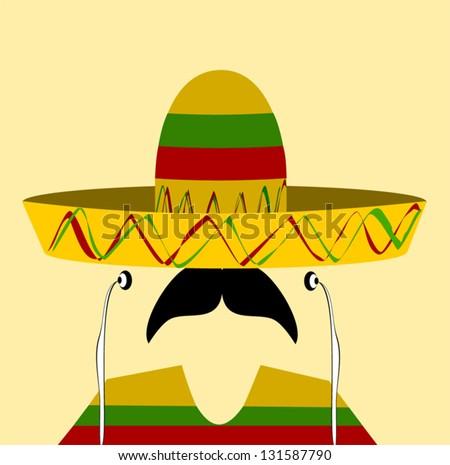 hispanic man wearing earphones and sombrero - stock vector