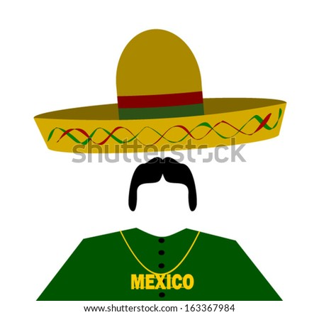 hispanic man wearing sombrero and gold chain with word mexico - stock vector