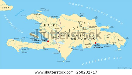 Hispaniola Political Map with Haiti and Dominican Republic, located in Caribbean island group, Greater Antilles. With capitals, national borders, important cities, rivers and lakes. English labeling.