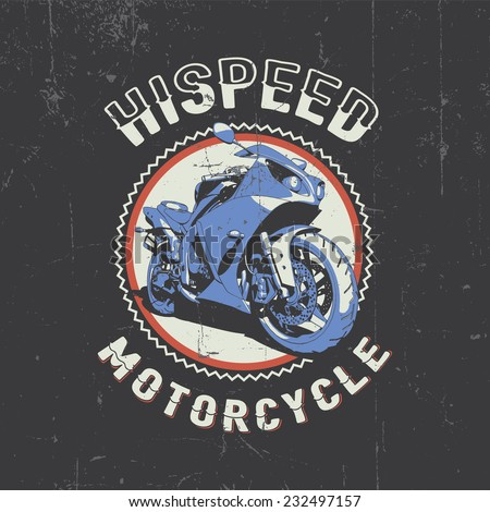 Hispeed motorcycle label t-shirt design with 3d style vector illustration