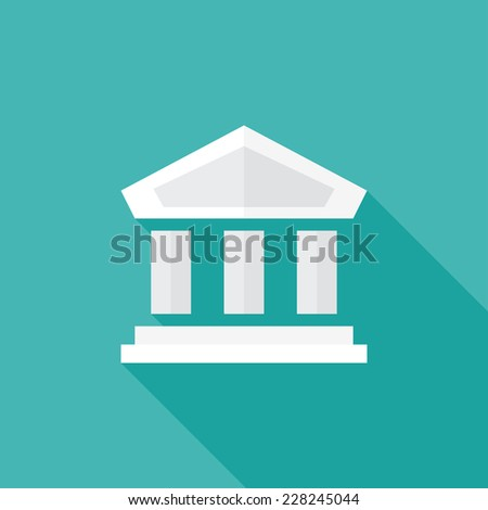 Historic building flat icon. Modern flat icons with long shadow effect in stylish colors. Icons for Web and Mobile Application. EPS 10. - stock vector